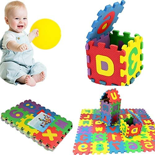 36 Tiles Eva Foam Mat Homlpope Kids Foam 36PCS Puzzle Floor Play Mat with Shapes /& Colors or Numbers /& Alphabets