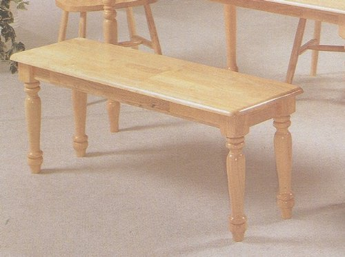 Country Style Dining Chair House Bench w/ Decorative Turned Legs (Maple Wide Bench)