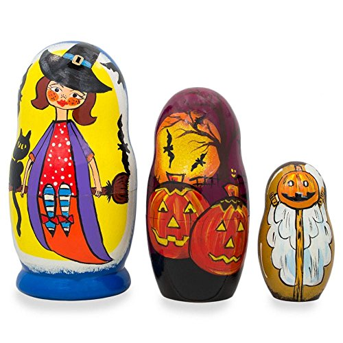 BestPysanky Set of 3 Halloween Witch and Pumpkins Wooden Nesting Dolls 4.25 Inches]()