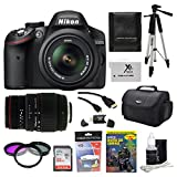 Nikon D3200 24.2 MP CMOS Digital SLR Camera with 18-55mm f/3.5-5.6G AF-S DX VR Lens and Sigma 70-300mm f/4-5.6 SLD DG Macro Lens with built in motor + 32GB Deluxe Accessory Kit