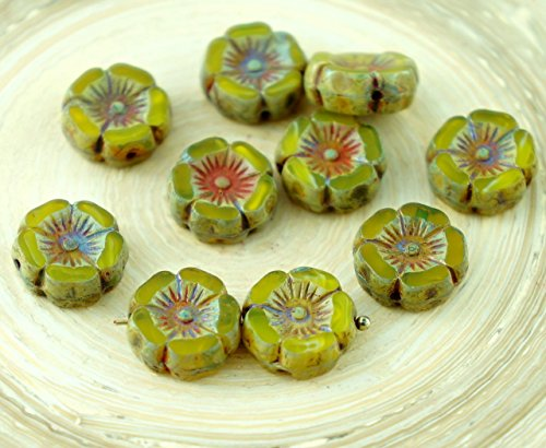 10pcs Rustic Picasso Brown Amber Yellow Table Cut Window Czech Glass Flat (Amber Coin Glass)
