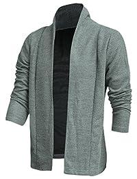 uxcell® Men Shawl Collar Long Sleeve Stylish Casual Knit Cardigan