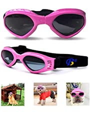 Pet Dog Goggles Eye Wear Protection Against UV/Wind/Water/Debris, Fashionable Multi-Color Multifunction Pet Doggie Protective Glasses for Small Dogs Cats Puppy Rabbit (M-5 inch, Pink)
