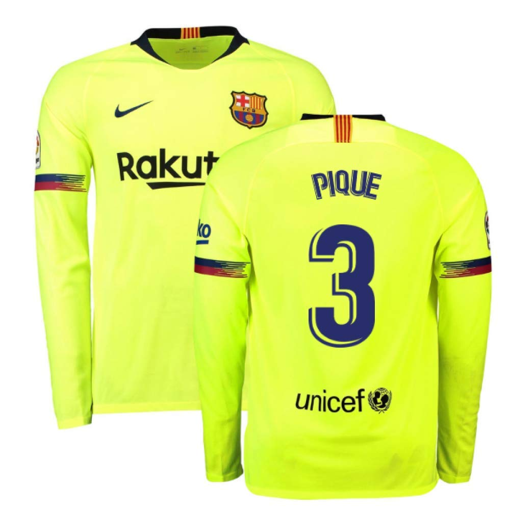 2018-2019 Barcelona Away Nike Long Sleeve Football Soccer T-Shirt Trikot (Gerard Pique 3)