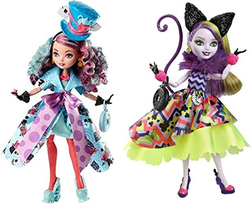 Ever After High Way Too Wonderland Madeline Hatter Doll & Way Too Wonderland Kitty Chesire (Kitty Cat Costume Homemade)