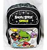 """16"""" Angry Birds Space Black and Silver Large Backpack-tote-bag-school"""