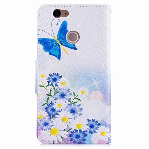 Custodia Huawei nova Cover Case, Ougger Blue Butterfly Portafoglio PU Pelle Magnetico Stand Morbido Silicone Flip Bumper Protettivo Gomma Shell Borsa Custodie con Slot per Schede