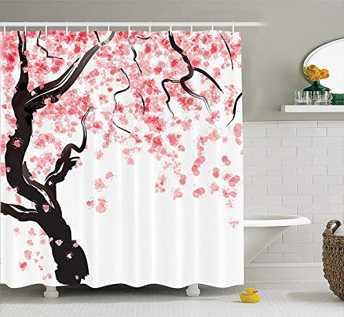 SZZWY Japanese Cherry Tree Blossom in Watercolor Painting Effect Oriental Stylized Art Deco House Decor Shower Curtain Bathroom Accessories Black Pink