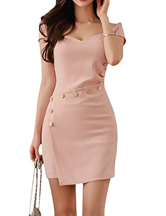 f5ee77dc7d SEBOWEL Women's Casual Work Short Sleeve Bodycon Cocktail Party Pencil Mini  Dress