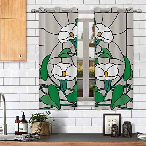 MOOCOM White Garden Flowers Composition Stained Glass Vector Kitchen Window Panels,okjeff14604o for Home,W59'' x H45'' from MOOCOM