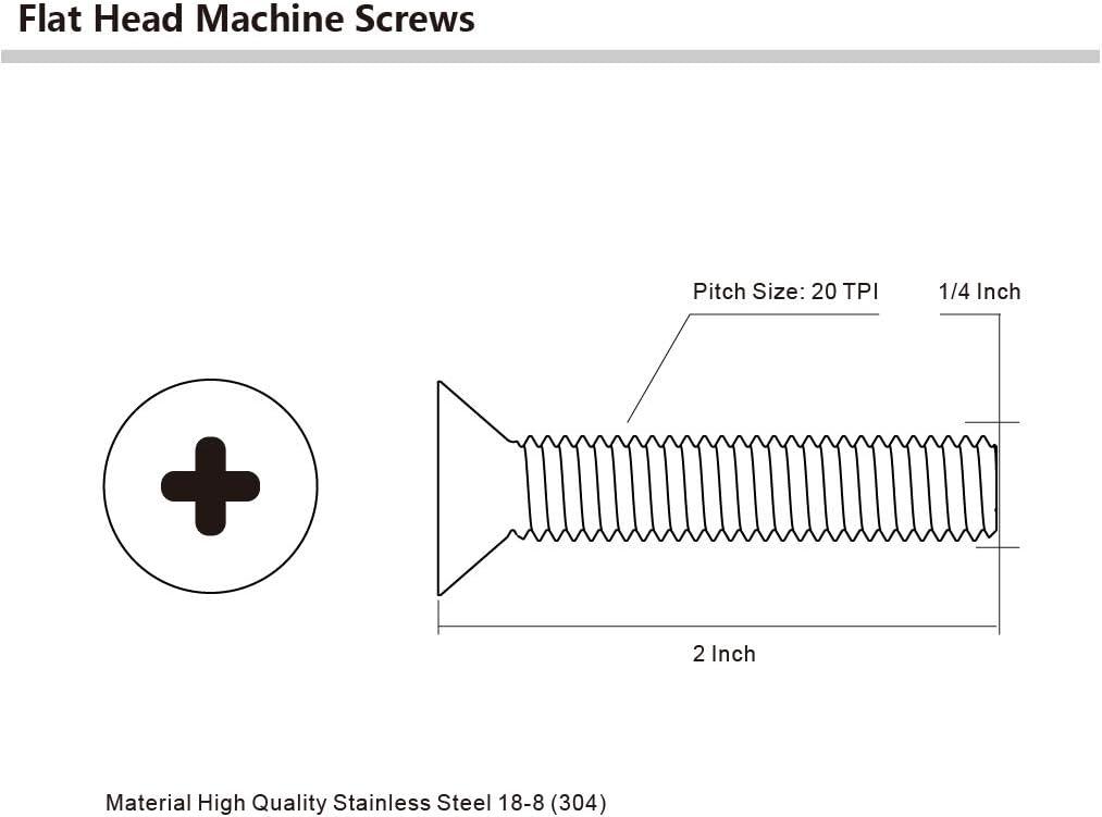 Full Thread Stainless Steel 18-8 1//4-20 x 2 Flat Head Machine Screws Machine Thread Bright Finish Phillips Drive Pack of 25