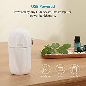 Aroma Diffuser, Car 100ml Ultrasonic Humidifier Aromatherapy Diffuser Essential Oil Aromas Fragrance Ultrasound Portable Air Purifier with USB Cable for Travel Car