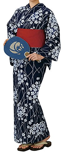 踊り衣裳 反物 注印 浜松本染ゆかた 綿呂注染浴衣着尺 白×濃紺 レディース   B07BPTRXXM