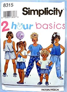 product image for Simplicity Sewing Pattern 8315 Girls' Pants or Shorts and Tops, Size AA (2 3 4)