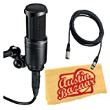 Audio Technica AT2020 Condenser Studio Microphone Bundle with Pop Filter and XLR Cable