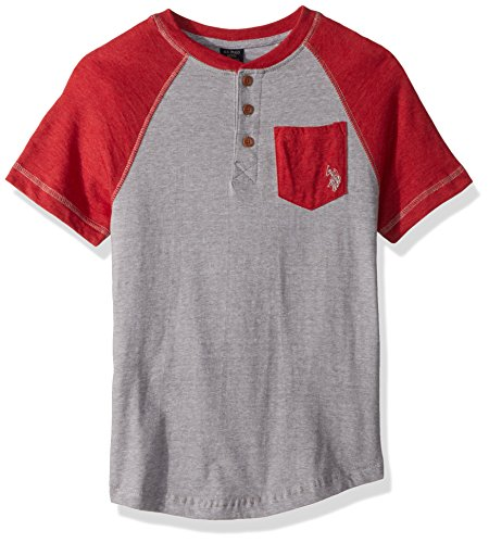 U.S. Polo Assn. Little Boys' Short Sleeve Striped Henley T-Shirt, Mini Stripe Raglan Henley Shirt Dark Grey, (Mini T-shirt Henley)