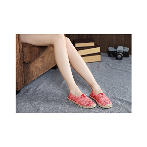 Mujer hueco zapatos casuales transpirable/Pone un pie comodos zapatos planos Rojo