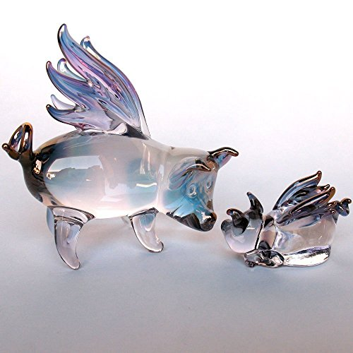 Pig Blown Glass (Flying Pigs Mother and Baby Figurine of Hand Blown Glass)