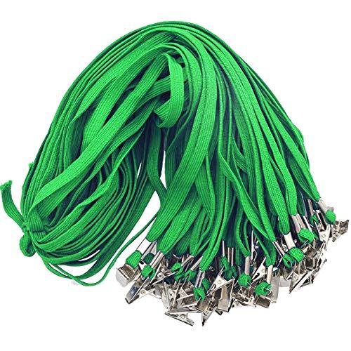 Green Lanyards Beebel 50PCS 32-Inch Flat Lanyards with Badge Clip (Green) -