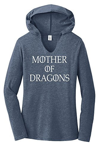 Comical Shirt Ladies Mother Dragons T Shirt Thrones TV Show Gamer Navy Frost 2XL