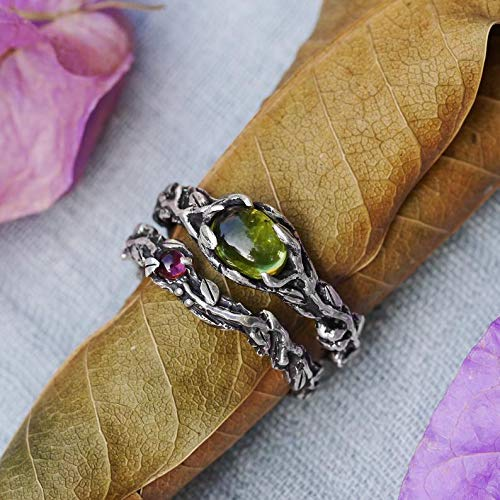 Stacking Rings Set Set of 2 Vita Tourmaline ring band Engagement Ring Set MADE TO ORDER Chrysolite ring Wedding Ring Set Twig ring
