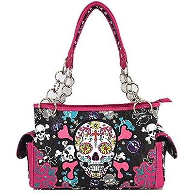 Sugar Skull Day of the Dead Cross Bone Concealed Carry Purse Women Cross Body Handbag Shoulder Bag Wallet