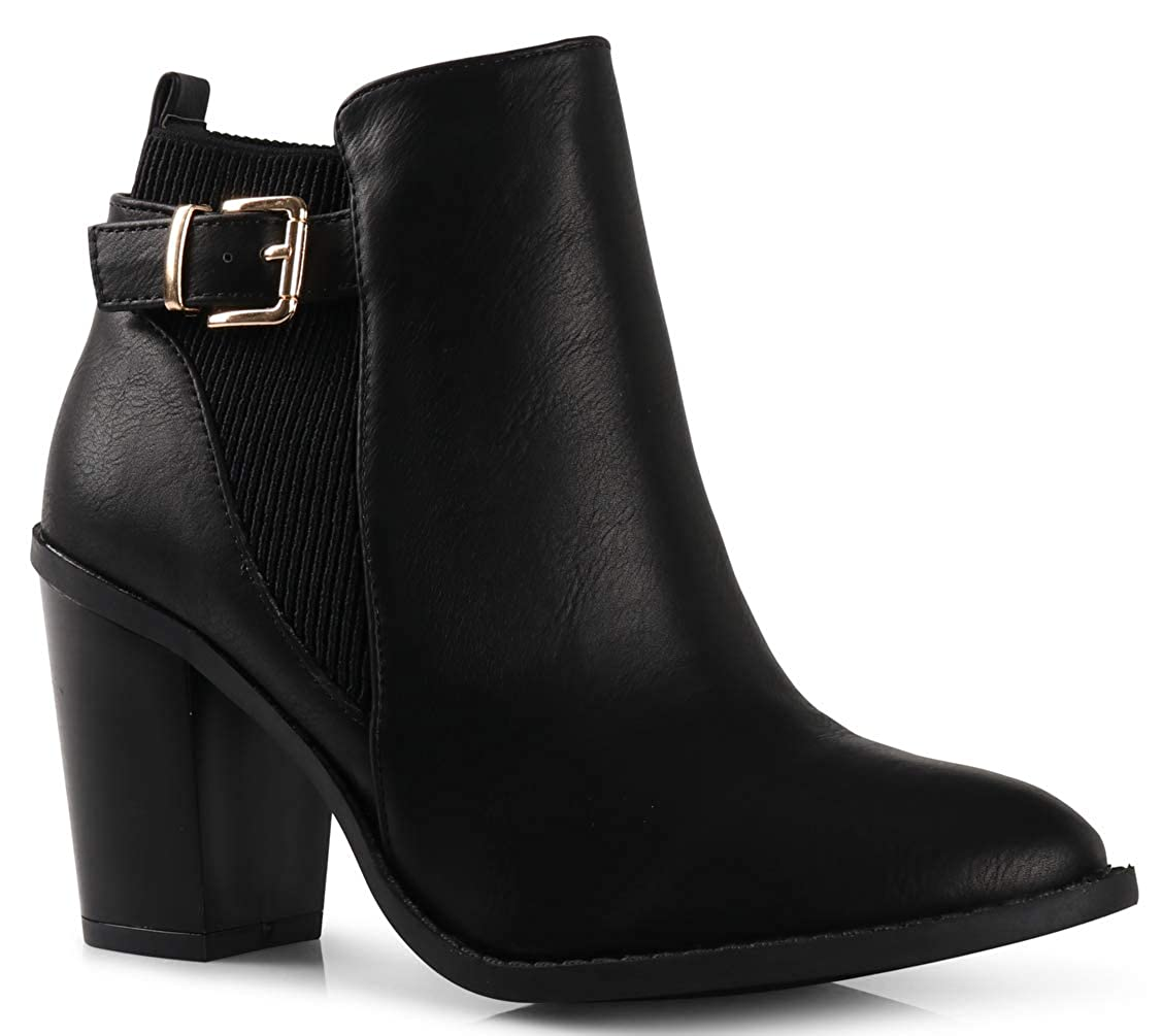 Black Buckle LUSTHAVE Women's Duney Cut Out Chunky Stacked High Heel Pointy Toe Ankle Bootie Boots