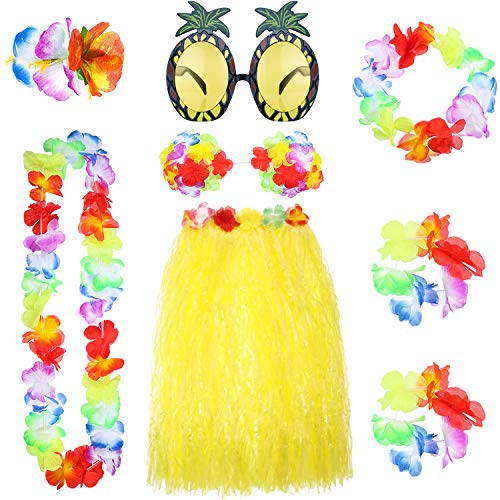 8 Pieces Hawaiian Hula Grass Skirt Set with Necklace Bracelets Headband Flower Bikini Top Hair Clip and Pineapple Sunglasses Party Decoration -