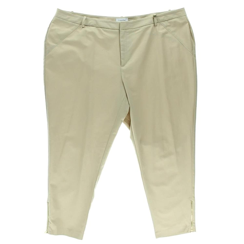 Calvin Klein Women's Plus Ankle Zipper Pants, Latte, 24W
