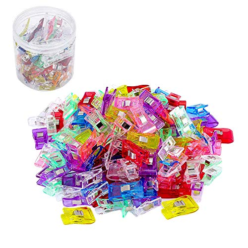 100 Sewing Clips- Craft Clips - Multicolor Plastic Sewing Clips (15 Big+25 Medium+and 60 Small) for Crafting and Quilting - Vibrant Colors - Sewing, Craft, Crochet, Knitting with Box Package