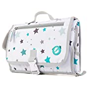 Portable Diaper Changing Pad with Pockets | Baby Changing Mat Station for Girls and Boys | On The Go Waterproof Changing Kit with Padded Head Cushion | Multi-use Cotton Wipe Included by Ludivy