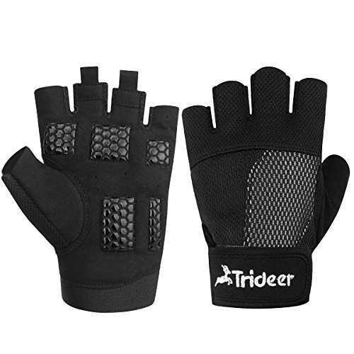 Trideer Ultralight Weight Lifting Gloves, Gym Glove for Powerlifting, Cross Training, Bodybuilding, Breathable Lycra & Anti-Slip Gel Pad (Black, L (Fits 7.08-7.48 Inches))