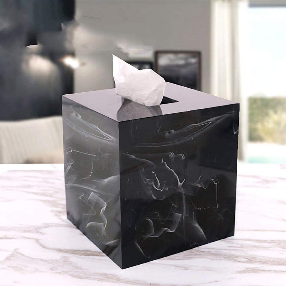 NWJHB Bo/îte /à mouchoirs marbr/ée Bo/îte /à mouchoirs carr/ée Bookbox Simple Bo/îte de Rangement pour Table Basse de Salon pour Voiture familiale Salle de Bain @ Noir