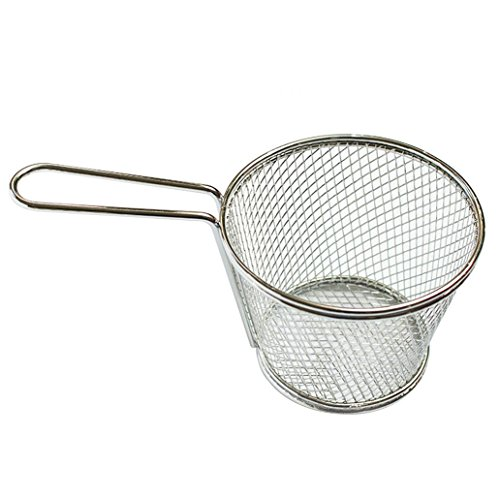 Stainless Steel Deep Fry Basket Round Wire Mesh Fruit Strainer With Long Handle Frying Cooking Oil Strainer Colander Sifter Sieve