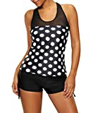 Tomlyws Women Black White Polka Dots Summer Swimwear Two Pieces Tankini Set XXL