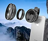 0.45X Super Wide Angle Telephoto Cell phone kit and Macro lens with designed Sturdy Carrying case, Universal Easy to use Clip for all iPhone 8/7 plus/7/6s/6s plus, Samsung and other smartphones