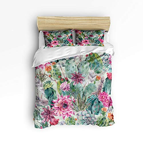 3 Piece Polyester Fabric Bedding Set with Zipper Closure Full Size, Colored Drawing Cactus Plant Flower Comforter Cover Set Duvet Cover with 2 Pillow Shams for Girls/Boys/Kids/Children/Teen/Adults