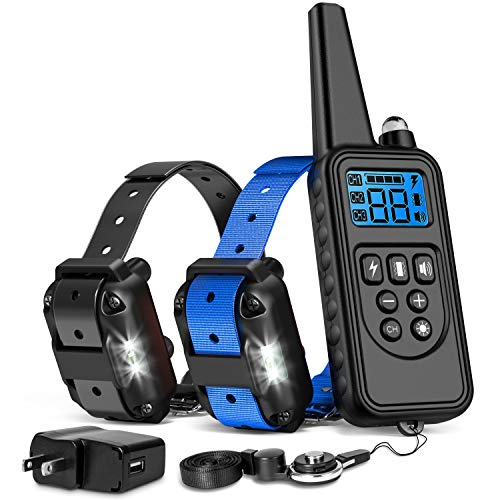iSPECLE Shock Collar for Dogs, 2018 Upgraded Waterproof Dog Training Collar with Remote for Large Medium Dogs Long Range E Collars for Dogs with LED Light Shock Tone Vibration, Neck Lanyard/Adapter