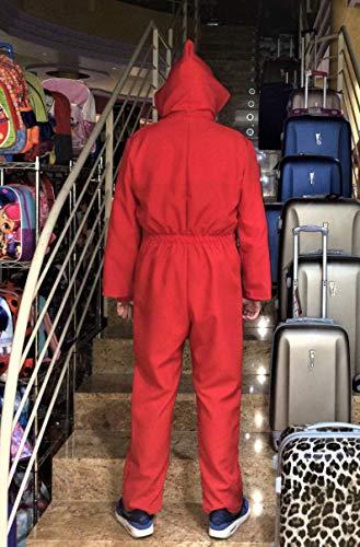 Disfraz de Ladrón + Fusil, inspirado en una afamada serie de televisión. No es el ORIGINAL de La casa de papel. Compuesto de Mono rojo, Máscara y ...