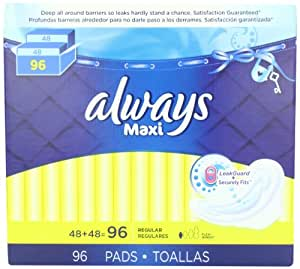Always Maxi Regular Pads With Wings, 96 Count