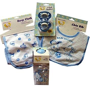 Amazon.com: Bebé Snoopy Baby Shower regalo set-cool azul: Baby
