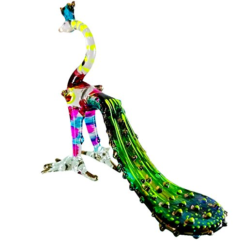 Sansukjai Peacock Figurines Bird Animals Hand Painted Green Hand Blown Glass Art Gold Trim Collectible Gift Decorate