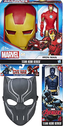 Kids Deluxe Iron Spider Costumes (Iron-Man Avengers Titan Series Mask & Marvel Figures Exclusive 2 Pack with Black Panther Mask & Action Figure Hero Series 12