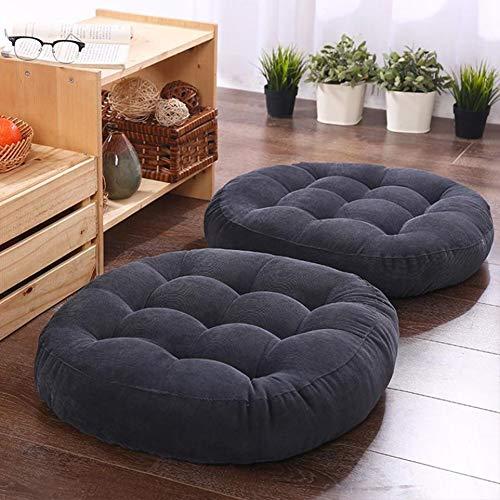 Solid Papasan Patio Seat Cushion Outdoor Chair Pad Home Tatami Floor Cushion Indoor Window Pad 22 Inch Set of 2 Throw Pillows Round Black