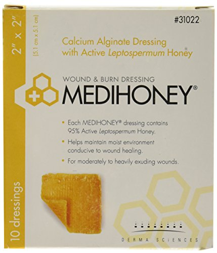 Derma Sciences 31022 Medihoney Calcium Alginate Dressing, 2