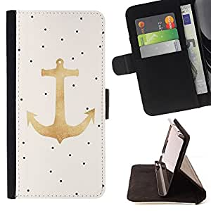 /Skull Market/ - GOLD ANCHOR SAILOR POLKA DOT BOAT CAPTAIN For Samsung Galaxy S5 V SM-G900 - Caja de la carpeta del tir???¡¯???€????€??????&