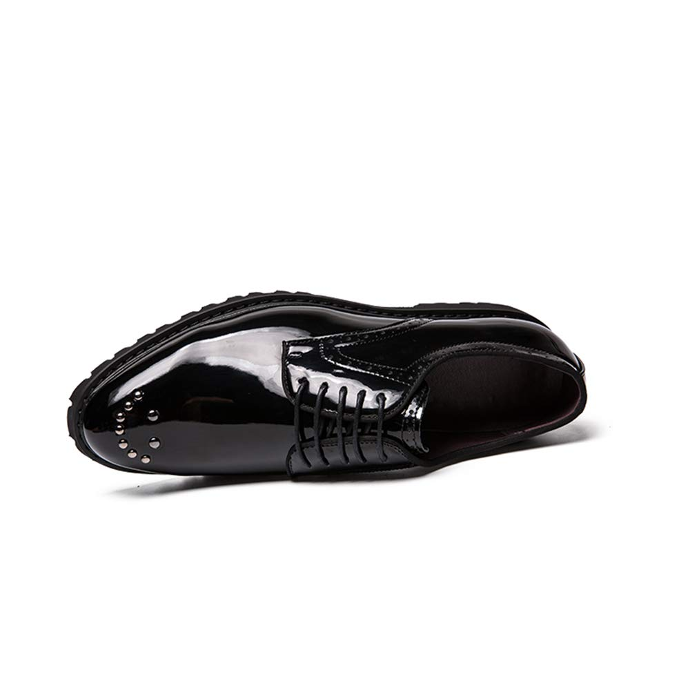 TongLing Mens Fashion Oxford Casual Comfortable Low-top Personality Rivet Patent Leather Formal Shoes