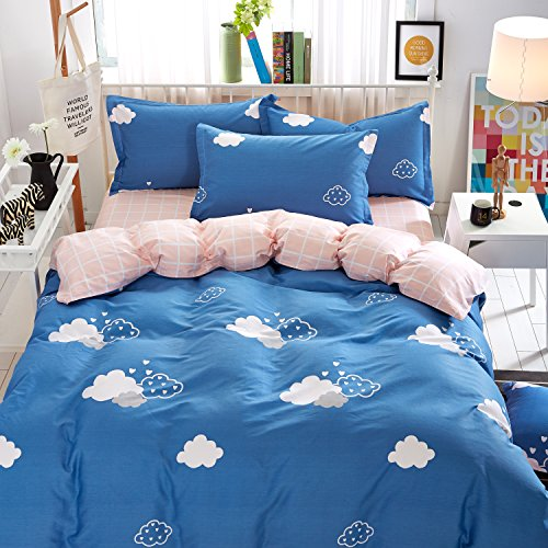 KTLRR Bed Sheet Bedding Set, Queen, Blue and Pink Clouds, 100% cotton Fabric Flat Sheet, Luxury Bedding Collection, Hypoallergenic & Wrinkle Free Bedroom Linen Set (Queen#1, Blue) ()