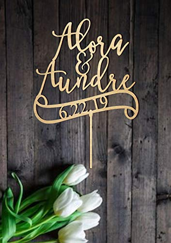 - Personalized Name Date Wedding Cake Topper Calligraphy Wedding Cake Topper Customized First Names Cake Topper Modern Wedding Decoration