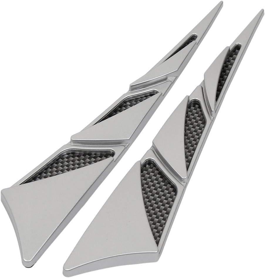 X AUTOHAUX Pair Car Chrome Side Air Flow Hood Vent Fender Cover Intake Grille Decoration Sticker